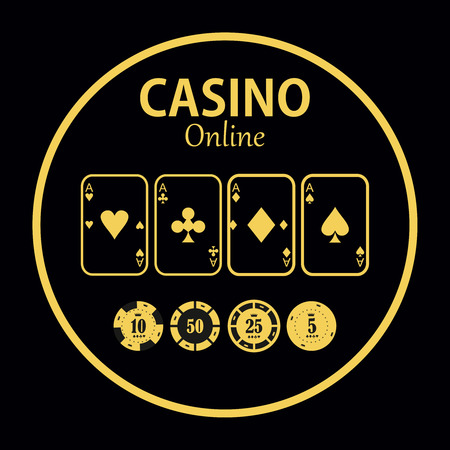 wagers: Casino  design elements vector icons. Casino games.Ace playing cards with chips on  background.Set of gambling chip Illustration