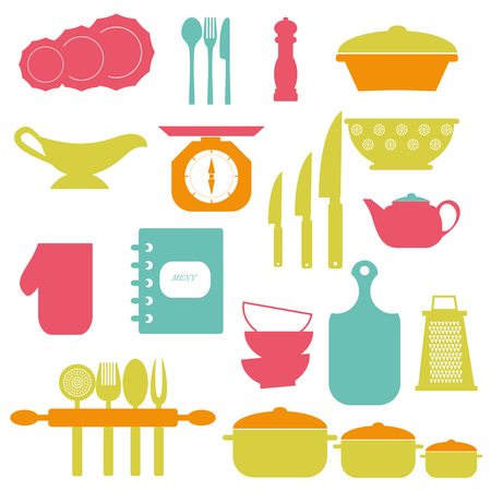 dishes set: Cooking tools and dishes icons set colors.