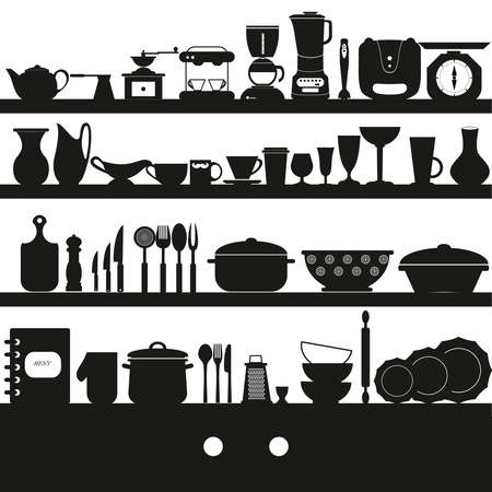measuring spoon: Cooking tools and dishes icons set .Kitchen collection - vector silhouette