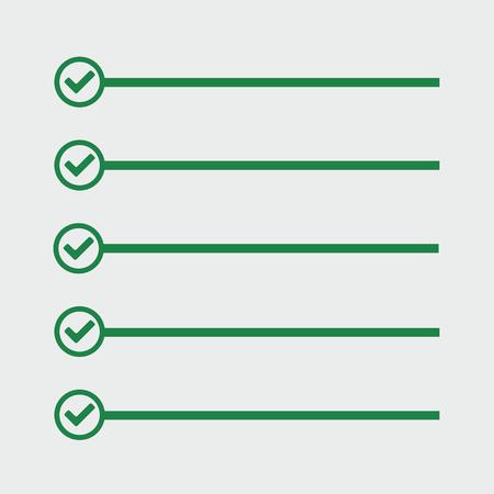 cheque en blanco: Lista de quehaceres. Las líneas con casillas de verificación. Lista de comprobación para la nota. marca de verificación. elección y de votación. Vectores