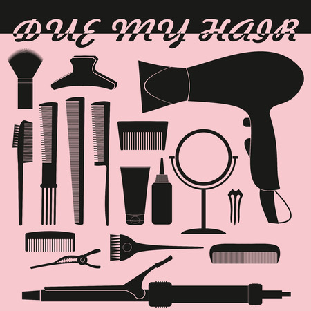 hair accessories: Hairdressing related symbol. Vector set of accessories for hair.Hair styling tools set. Black and white icons. Hairbrush, comb, hairdryer, hair curler, hair straightener, mirror, hairpins silhouettes Illustration