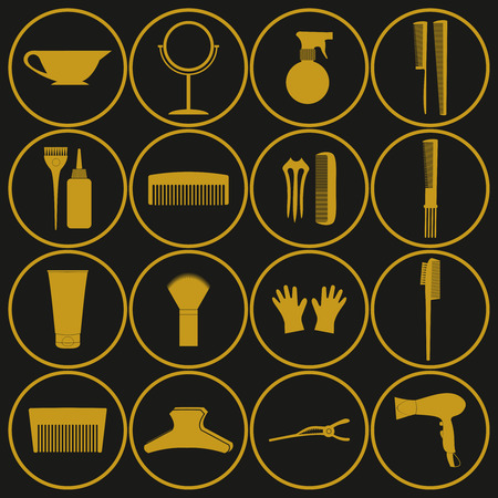 Hairdressing related symbol. Vector set of accessories for hair.Hair styling tools set. Black and white icons. Hairbrush, comb, hairdryer, hair curler, hair straightener, mirror, hairpins silhouettes