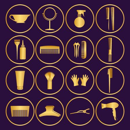 Hairdressing related symbol. Vector set of accessories for hair.Hair styling tools set. Black and white icons. Hairbrush, comb, hairdryer, hair curler, hair straightener, mirror, hairpins silhouettes.