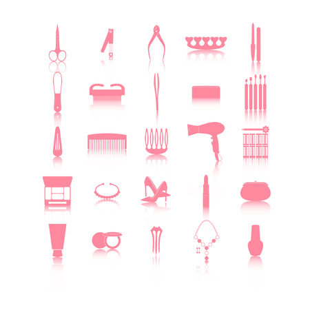 hairdressing accessories: Hairdressing related symbol. Vector set of accessories for hair