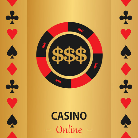 gambling chip: Casino  design elements vector icons. Casino games.Ace playing cards with chips on  background.Set of gambling chip.