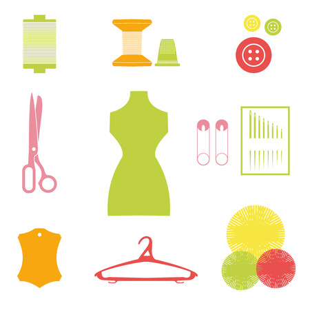 coat hanger: Sewing icons set. Hand-drawn cartoon collection of tailor tools - scissors, needle, mannequins, thread, coat hanger.  Vector illustration.Decoration.