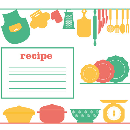 cooking book: Vector Recipe page design. Style cooking book page Illustration
