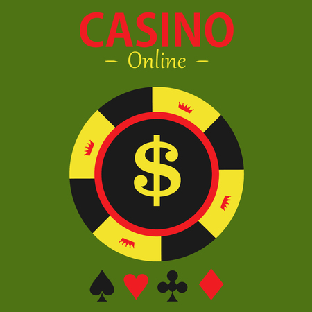 gambling chip: Casino  design elements vector icons. Casino games.Ace with chips on  background.Set of gambling chip