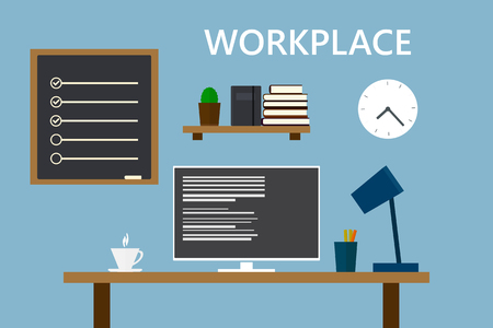 old home: Workplace in old home room. Stylish and old interior.Quality design illustration, elements and concept. Flat style. Illustration