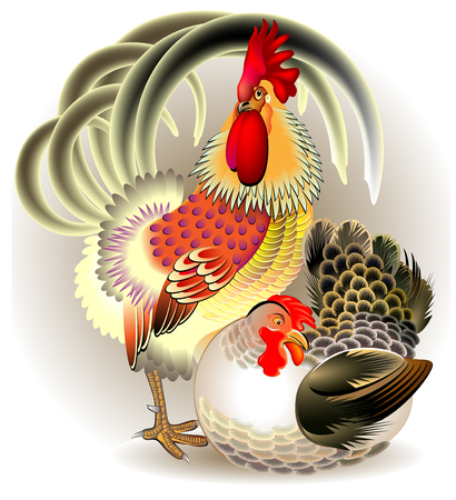 Illustration of cock and hen, vector cartoon image.