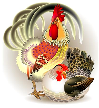 bantam hen: Illustration of cock and hen, vector cartoon image.