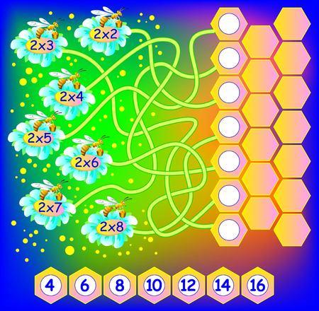 Ejercicio para niños con la multiplicación por dos. Necesidad de escribir el número correcto en círculos vacíos. El desarrollo de habilidades para el recuento y la multiplicación. Imagen del vector.