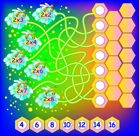 multiplication: Exercise for children with multiplication by two. Need to write correct number in empty circles. Developing skills for counting and multiplication. Vector image.