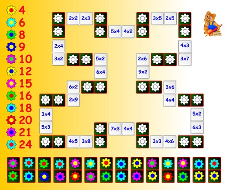 remaining: Exercise for children with multiplication. Paint the flowers on corresponding colors using the remaining dominoes. Need to close the circuit. Vector image. Illustration