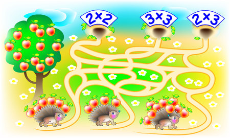 lead sled: Exercises for children with multiplication - need to solve examples, find the home for each hedgehog and draw the lines on relevant track. Developing skills for counting. Vector image.