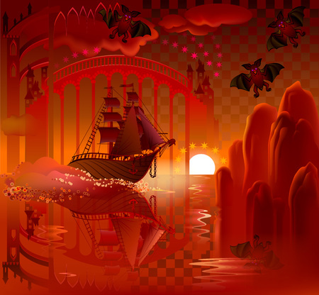 old ship: Illustration of fantastic ship in wonderland, vector cartoon image.