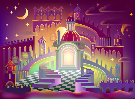 Illustration of a fairyland fantasy kingdom, vector cartoon image.