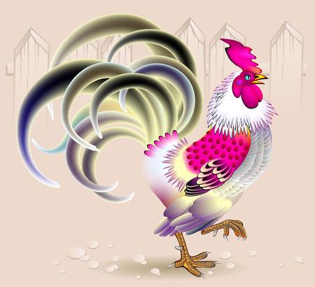 Illustratie van mooie haan, vector afbeelding cartoon. Stockfoto - 64613306