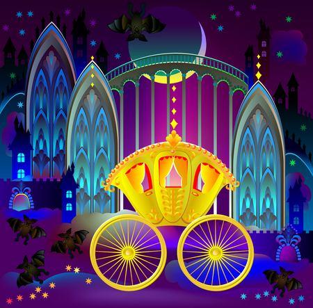 Illustration de fantastique chariot d'or au pays des merveilles royaume, image de bande dessinée de vecteur. Vecteurs