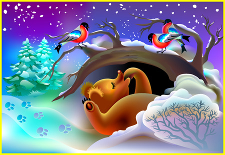 animal den: Illustration of bear sleeping in a cave during winter, vector cartoon image.