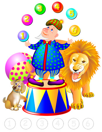 Illustration of merry clown juggling with numbers, vector cartoon image. Illustration
