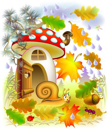 Illustration of autumn in fairyland forest, vector cartoon image. 일러스트