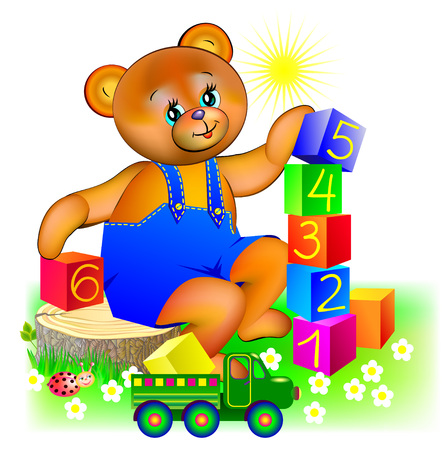 Illustration of little teddy bear playing with cubes, vector cartoon image. Illustration