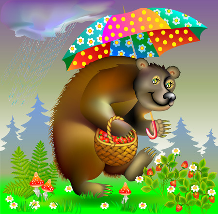 cartoon berries: Illustration of bear holding umbrella, vector cartoon image.
