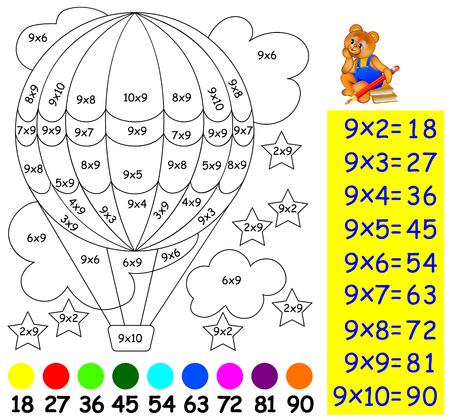 Exercise for children with multiplication by nine. Need to paint image in relevant color. Developing skills for counting and multiplication. Vector image. Illustration