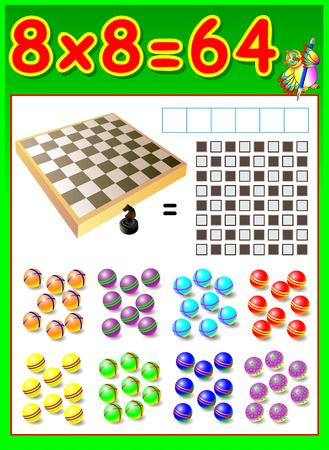 multiplication: Educational page for children with multiplication table. Developing skills for counting and multiplication. Vector image. Illustration