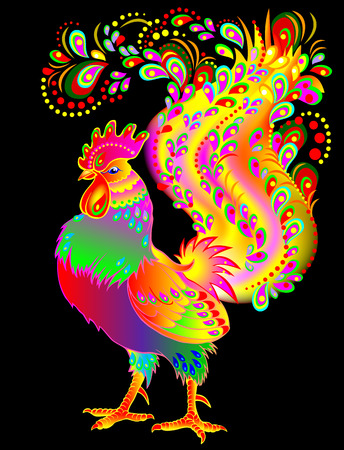 Illustration of beautiful fantasy rooster, vector cartoon image.