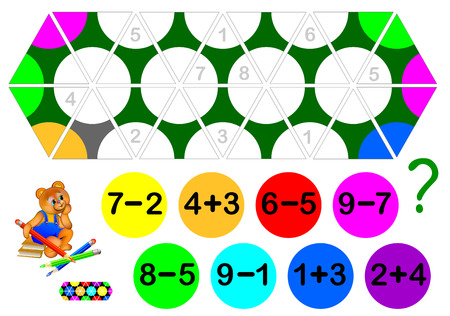 Logic exercise for children with Triomino game. Need to solve examples and to paint the circles in triangles correctly. Developing skills for counting. Vector image.