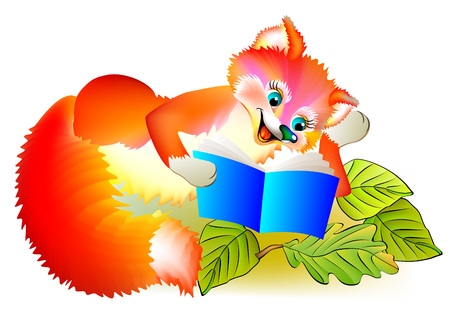 Illustration of little fox reading a book, vector cartoon image. Illustration