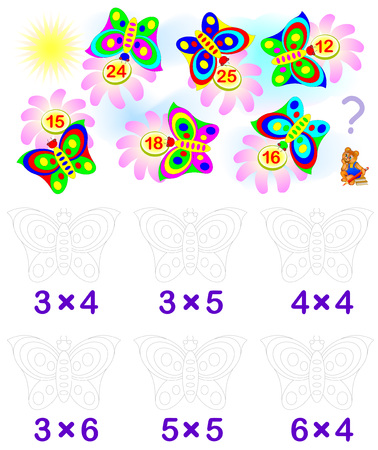 for example: Exercise for children with multiplication. Solve examples and paint each butterfly in relevant color. Vector image.