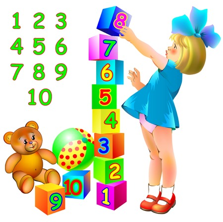 Educational page for children with numbers. Developing skills for counting. Vector image.