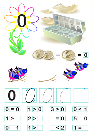 frame less: Educational page for children with number zero. Vector image.