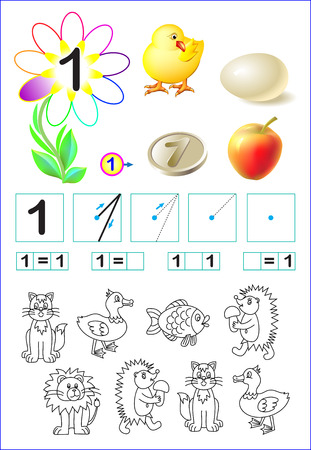Educational page for children with number one. Vector image. Illustration