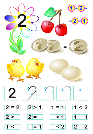 Educational page for children with number two. Vector image.