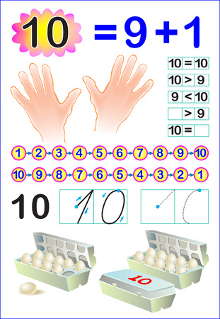 Educational page for children with number 10. Vector image. Illustration