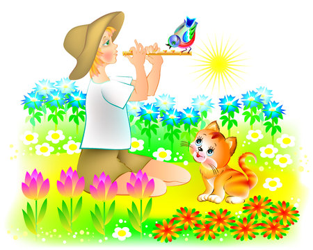 Illustration of little boy playing the pipe at sunrise, vector cartoon image.