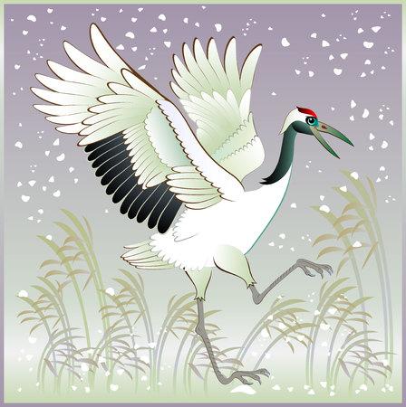 beck: Illustration of beautiful crane in winter, vector cartoon image.