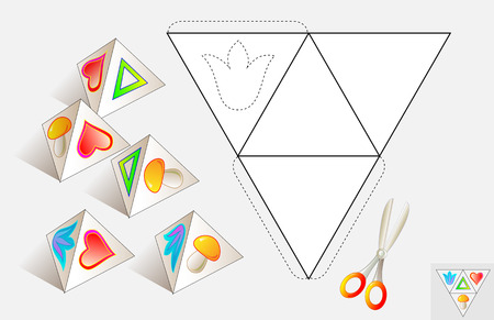 Logic puzzle. Draw the relevant images on the pattern, color and make by pyramid. Vector image. Illustration