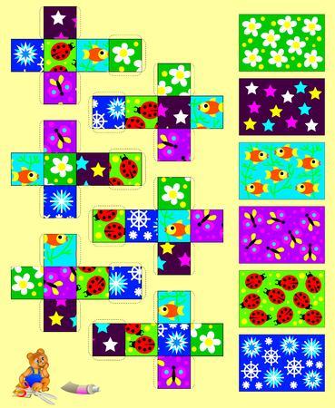 trabajo manual: Modelo con el ejercicio para los niños. Recortar y pegar las seis cubos, y luego reunir seis imágenes. El desarrollo de habilidades para el trabajo hecho a mano. Imagen del vector. Vectores