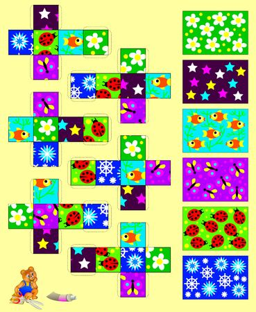 developing: Template with exercise for children. Cut out and glue the six cubes, then gather six pictures. Developing skills for handwork. Vector image. Illustration