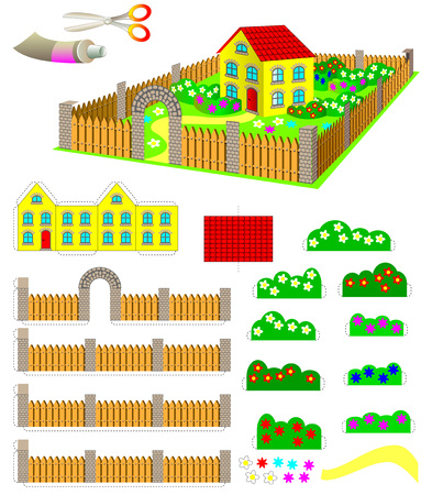 Template with exercise for children. Using scissors and glue need to make toy house with garden. Developing skills for cutting and handwork. Vector image. Illustration