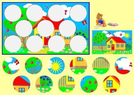 trabajo manual: Modelo con el ejercicio para los niños. Necesidad de cortar los círculos y pegarlas en los lugares correspondientes. El desarrollo de habilidades para el trabajo hecho a mano. Imagen del vector.