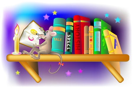 intrigue: Illustration of happy mouse reading a book at night, vector cartoon image.