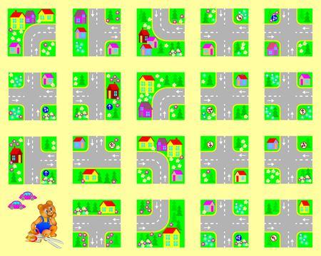 trabajo manual: Modelo con el ejercicio para los niños. Cortar los cuadrados, hacer su propio pueblo con carreteras y conducir por coches de juguete. El desarrollo de habilidades para el corte y el trabajo hecho a mano. Imagen del vector.