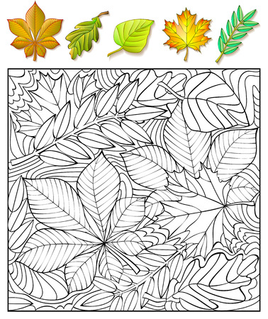 developing: Exercises for children. Need to find and to paint the leaves. Developing skills for drawing and coloring. Vector image.
