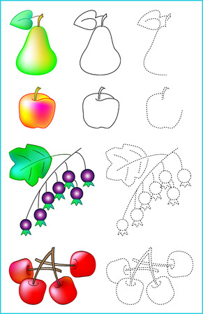 Educational page for young children. Developing skills for drawing and coloring. Illustration